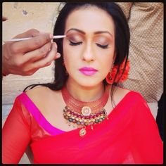 My makeup artiste Inder touching up the makeup I have done for award winning actress #RitupornaSenGupta. Enjoyed working the different hair and makeup looks for her movie#TereAneSe. Proud when I was told by the shooting team that she has never looked better!!! Thank you!!! #powerofhairandmakeup!! Kept a soft finish with transparent eye color and just a pop of lip color to compliment the beautiful colors of her Saree. Styling and clothes by the super talent #Shane!