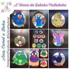Nossos CDs estão ficando cada vez mais lindos! Dessa vez, quem enfeitou os CDs/DVDs usados foi a turma da Galinha Pintadinha! Estamos encantadas por esses novos quadrinhos! #SeViraNaArte #GalinhaPintadinha #TurmaDaGalinhaPintadinha #Mariana #PintinhoAmarelinho #ABarataDizQueTem #Borboletinha #OSapoNãoLavaOPé #GalinhasCantoras #GaloCarijó #Arte #Artesanato #Decoração #BrincadeiraDeCriança #TemaInfantil #Reciclagem #CD #EVA