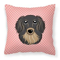 Carolines Treasures Checkerboard Pink Longhair Black and Tan Dachshund Square Decorative Outdoor Pillow - BB1213PW1414