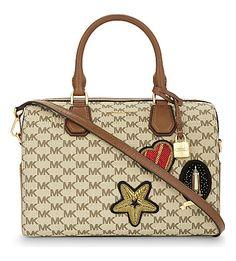 MICHAEL MICHAEL KORS Mercer Heritage Leather Duffle Bag. #michaelmichaelkors #bags #leather #travel bags #weekend #canvas #