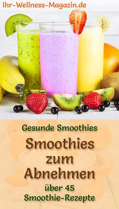 Smoothies zum Abnehmen – 50 gesunde Smoothie-Rezepte Make smoothies yourself: 50 healthy smoothie slimming recipes for breakfast smoothies and fruit smoothies – low in calories and without added sugar … weight Smoothie Fruit, Smoothie Prep, Apple Smoothies, Breakfast Smoothies, Healthy Smoothies, Breakfast Recipes, Smoothie Detox, Smoothies Sains, Gourmet Recipes