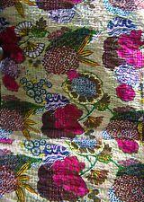 Beige Kantha Quilt Indian Handmade Bedspread Throw Cotton Gudari Ethnic Blanket