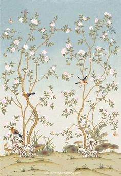 Interior Wallpaper, Room Wallpaper, Hand Painted Wallpaper, Butterflies Flying, Shabby, Oriental Design, Japanese Painting, Panel Art, Hyde Park