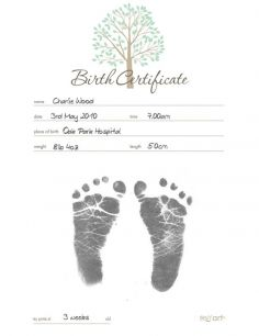 inkless print kit birth certificate item 1105831512 personalise a decorative birth certificate by recording babys birth details and gorgeous footprints