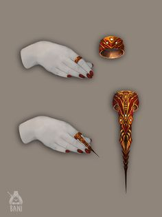 Ring Of Blood Thirst by Banzz Fantasy Character Design, Character Inspiration, Character Art, Weapon Concept Art, Armor Concept, Anime Weapons, Fantasy Weapons, Fantasy Jewelry, Fantasy Art
