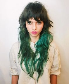 Hair ideas Browse this link to see so many amazing styles of long shaggy hair cuts with green hair c Green Hair, Blue Hair, Lilac Hair, Pastel Hair, White Hair, Mullet Hairstyle, Shaggy Long Hair, Edgy Hair, Cool Hairstyles