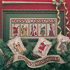 Christmas Gentlemen Cross Stitch ePattern - Santa Claus, Father Christmas, Kris Kringle, St. Nicholas, and even a Medieval Santa, celebrate the traditional Christmas Gentlemen with these lovely stitched pieces. Whether framed, made into individual mini pillows, or stitched on a banner, these lovely designs are sure to become a cherished part of your holiday traditions. Mini Pillow finishing instructions are included.Number of Designs: five - 1 Framed Design, 3 Mini Pillows, and 1 Border ...