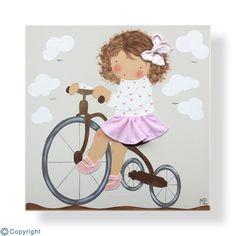 Cuadro infantil personalizado: Niña en triciclo (ref. 12078-04)