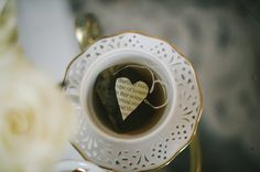 Cream and Gold Teacup with paper heart