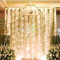 dream-Hanging fabric and vines with twinkle lights behind the . Enchanted Forest Prom, Enchanted Forest Decorations, Prom Decor, Wedding Decorations, Wedding Backdrops, Reception Backdrop, Aisle Decorations, Ceremony Backdrop, Curtain Lights