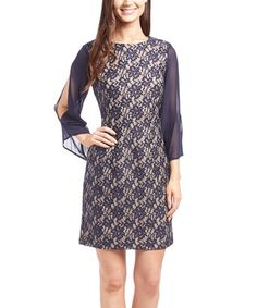 Look what I found on #zulily! Navy & Nude Floral Lace Cutout Sheath Dress by Shelby & Palmer #zulilyfinds