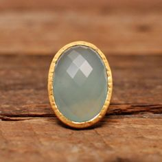 gorgeous gold vermail + aqua ring