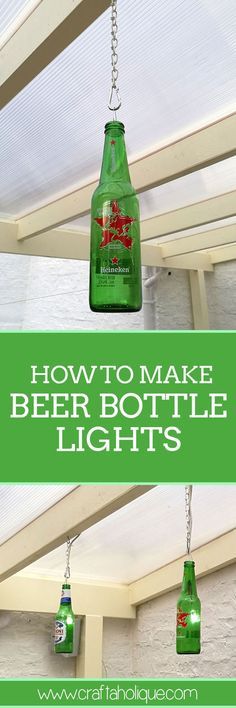 Love upcycling? Find out how to make these brilliant beer bottle lights that you can use indoors or outdoors! DIY tutorial from Craftaholique.
