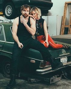 Instagram photo by reneeyoungwwe - Just causally over here doing a little mechanic work on this old ass car in some pleather pants. Seriously love this shot though @vegasseven