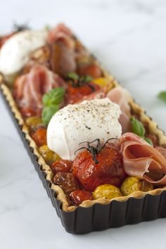 Quick Balsamic Fig Roasted Tomato and Mozzarella Cheese Tart