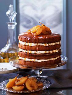 brown sugar sponge cake w/ caramel pears • gourmet traveller