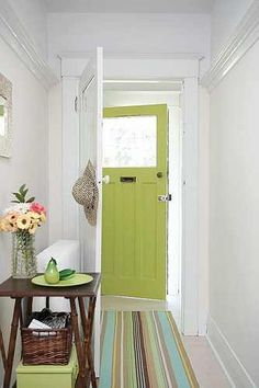 Pretty chartreuse front door.
