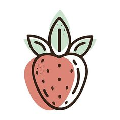 'Strawberry flat illustration' Art Print by Annartlab Strawberry Drawing, Strawberry Art, Fruit Illustration, Simple Illustration, Ideas Para Logos, Cake Logo Design, Fruit Logo, Fruit Art, Grafik Design