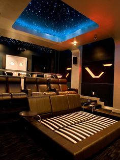 Watch Movies in Bed - Oscar-Worthy Home Theaters on HGTV.  Love the bed. Great idea for cuddling up to a great movie.