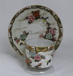 Japanese Meiji Era Cup and Saucer wth Birds.