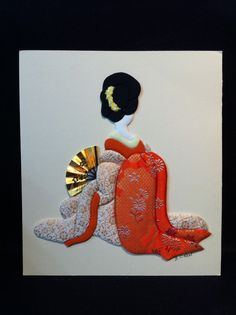 Set of 2 Japanese Geisha Fabric Wall Art by B O'Neal Kimono Quilted Textile   eBay