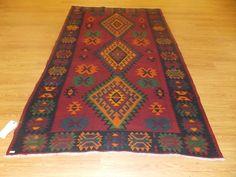 "4' 11"" x 7' 9"" Red Green Orange Antique Kilim Hand Woven Wool Nomadic Tribal Rug"