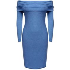 Yoins Off Shoulder Long Sleeve Party Dress (€20) ❤ liked on Polyvore featuring dresses, short dresses, blue, short party dresses, blue bodycon dress, sexy mini dress, long sleeve mini dress and party dresses