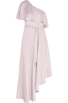 A LILAC LOOK: Zimmermann's elegant lilac dress is perfect for weddings, garden parties and summer events. Draped with a ruffled overlay, this flattering one-shoulder design is cut from lustrous silk and falls to an asymmetric hem. Use the detachable ties to define your waist.