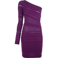 ROBERTO CAVALLI fitted one-shoulder dress ($789) ❤ liked on Polyvore featuring dresses, vestidos, short dresses, robe, long-sleeve mini dress, one shoulder dress, long sleeve dress, purple long sleeve dress and mini dress
