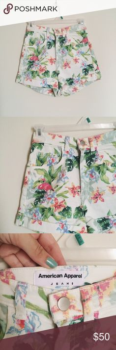 🎉HP x2🎉 American Apparel shorts American apparel tropical high waisted shorts! My absolute faves but they no longer fit me :( I gained weight so quickly I never had the chance to wear them. They're in perfect condition. Size 24/25. No trades. It'll be very hard to get rid of these so my price is very firm. American Apparel Shorts Jean Shorts