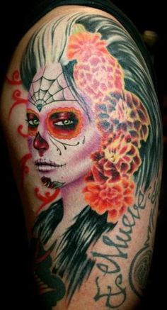 day of the dead tattoos | Sexy Day of the Dead Tattoo Lady – Tattoo Picture at CheckoutMyInk ...