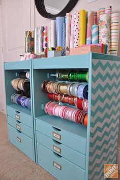 Get organized with a cute and colorful gift wrapping station!