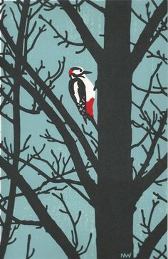 Greater Spotted Woodpecker, Linocut, Nick Wonham
