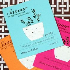 These personalized plantable herb seed card favors are perfect for a garden-themed wedding.  Each favor features certified organic herbs embedded within biodegradable paper