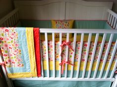 Ready to Ship Crib Set Coral Aqua Yellow by butterbeansboutique, $325.00