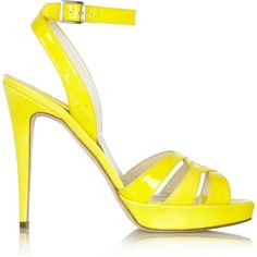 Brian Atwood Riva patent-leather sandals ($290) ❤ liked on Polyvore featuring shoes, sandals, heels, high heels, zapatos, yellow sandals, strappy high heel sandals, yellow high heel sandals, ankle strap sandals and platform sandals