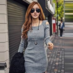 shop for Korean Off-shoulder Long Sleeve Knit Round Neck Fitted Pencil Dress and more for everyday cheap prices at Lalalilo.com - Your Online Womens Clothes Store