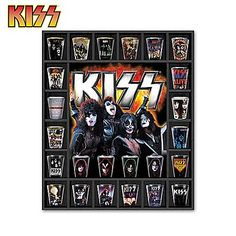 KISS Rock Legends Shot Glass Collection with Display from Bradford Exchange