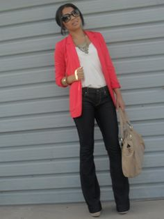 coral blazer black dress pants instead of jeans? Blazer Outfits, Blazer Fashion, Fashion Outfits, Womens Fashion, Coral Blazer, Colored Blazer, Pretty Outfits, Cool Outfits, Current Fashion Trends