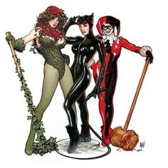 Poison Ivy - Catwoman - Harley Quinn - Adam Hughes - AH! Catwoman, Batgirl, Comic Book Artists, Comic Book Characters, Comic Books Art, Female Characters, Harley Quinn, Joker And Harley, Dc Comics