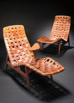 Chaise lounge designed by Arne Vodder | Teak and beech covered with wicker made of patinated leather. Produced by Bovirke.