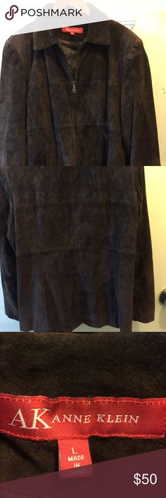 Ann Klein 100% suede brown jacket. Zippered front. 100% pure suede Ann Klein jacket. Size large. Pockets on each side. Chocolate brown color. Ann Klein Jackets & Coats