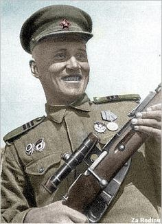 Sniper Viktor Medvedev of the 3d Ukrainian front, awarded the Hero of the Soviet Union medal on 2-22-1944, In July 1940 he was drafted into ...