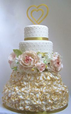 Elegant wedding cake with a mix of gum paste flowers and wafer paper flowers. Camo Wedding Cakes, Wedding Cakes With Cupcakes, Elegant Wedding Cakes, Elegant Cakes, Shoe Cakes, Cupcake Cakes, Purse Cakes, Ruffle Cake, Ruffles