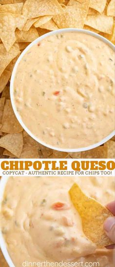 Chipotle Queso (Copycat) recipe is an all natural creamy chili cheese dip with t. Chipotle Queso (Copycat) recipe is an all natural creamy chili cheese dip with tomatillo salsa in just 20 minutes that tastes just like you'd get at Chipotle! Chili Cheese Dips, Queso Cheese, Chili Queso Dip, Nacho Dip, Cheese Dip Recipes, Creamy Cheese, Cheese Salsa Recipe, Cheese Dip Mexican, Sauces