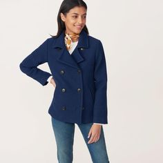 The Blue Wool Pea Coat is a must-see from our latest Women's collection and is available to buy online at GANT USA