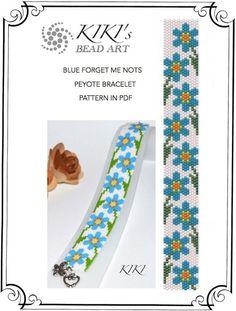Peyote Pattern for bracelet Blue forget me nots por KikisBeadArt Seed Bead Patterns, Beaded Jewelry Patterns, Bracelet Patterns, Peyote Stitch Patterns, Beading Patterns, Bead Loom Bracelets, Peyote Beading, Seed Bead Flowers, Beaded Bracelets