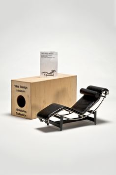 the modern archive - Chaise Lounge Scale Miniature) by LeCorbusier/Jeannert/Perr The Chaise one of the most famous pieces. This miniature unlike the other chaise has a leather cover attached with elastic bands.