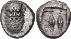 Tetradracma - argento - Siracusa (ca.485 a.C.) battuta da Gelone - la divinità fluviale Alpheios con barba e baffi, piccole corna e orecchie ferine, al verso in incuso ΣVRA e due chicchi di cereali - mercato antiquario $700000