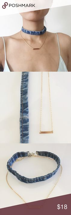 Denim Choker & Gold Plate Necklace Set Set includes: a denim choker and a dainty gold plate necklace. You get both! Stylish together but also super cute worn on their own. NWOT. Price is firm. Jewelry Necklaces
